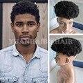 Горячая Продажа 6 inch # Черный Цвет Девственница Малайзийские Волосы Афро Парик для Черных Мужчин Бесплатная Доставка