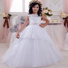 d8f45155b9b Белые пухлые Платье с кружевными цветами для девочек для свадьбы одежда с  длинным рукавом для девочек вечерние торжественное пла.