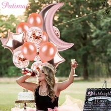 PATIMATE Laser Baby Shower 32inch Large Moon balloons Wedding Happy Birthday Balloons Confetti Foil Balloon Party Decor Supplies confetti ковер moon