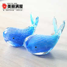 Whale blue glazed ornaments, coloured glaze crafts, simple and modern, Animal ornaments, decorations, creative wedding gift