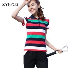 ZYFPGS 2019 Summer Casual Women Polo Shirts Striped Short Sleeve Horse Mujer Shirt Slim Cotton Femme Plus Size New Fashion L0521