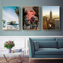 Modern Minimalistic Abstract Leaves Beach City Landscape Decor Wall Art Canvas Painting Nordic Posters Pictures Unframed