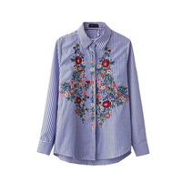2017 New Spring Women Blouse Flower Embroidery Turn Down Collar Striped Work Shirts Women Office Tops