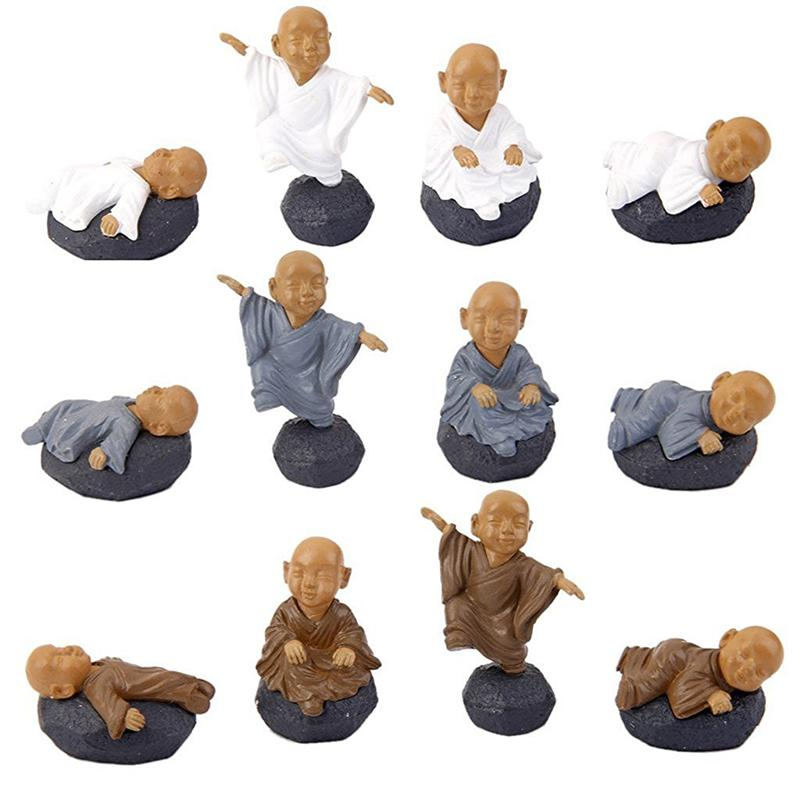 WINOMO 12pcs Miniature Fairy Garden Ornaments PVC Meditation Monks