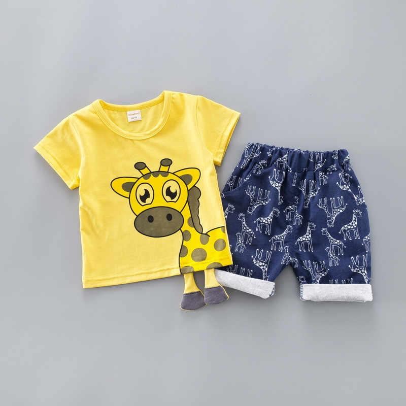 Детский костюм 2019 г., новый летний костюм с динозавром Комплект для мальчиков и девочек, летний детский костюм радужной расцветки с горлом Детский комплект из двух предметов