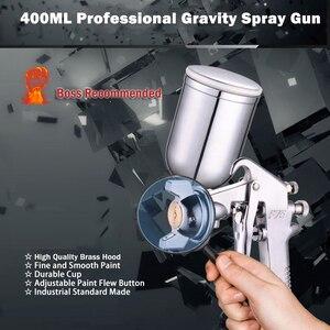 Image 2 - 400 ミリリットルスプレーガンプロ空気圧エアブラシスプレー合金塗装アトマイザーツールホッパー塗装車による prostormer