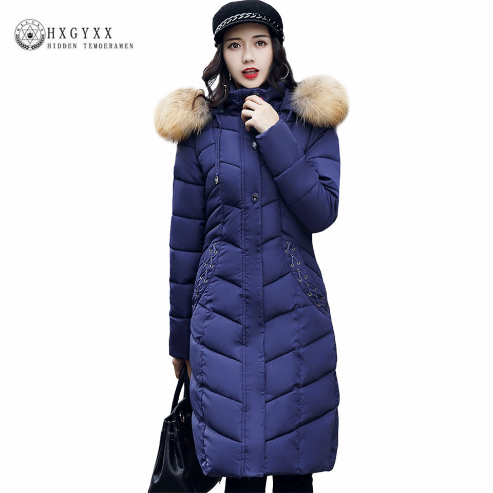 2017 new arrival winter long jacket women solid color slim wadded coat female large fur collar thick warm quality parka ok448 winter jacket women casual long hooded parka warm fur collar solid color wadded slim fit coat female fashion thick overcoat