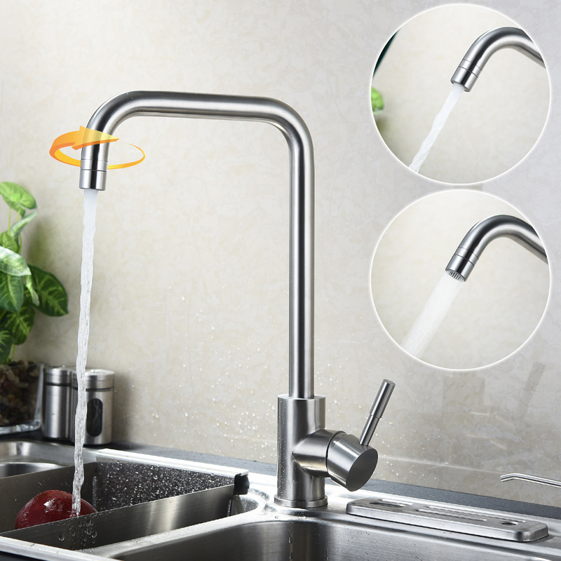 New Arrival Fashion SUS304 Stainless Steel Kitchen Faucet Rotate Water Tap 2 Way Water Outlet Faucets Brushed Mixer Taps water cooler tap water dispenser parts 304 stainless steel wireless electric bottled water pumping unit mineral water pump