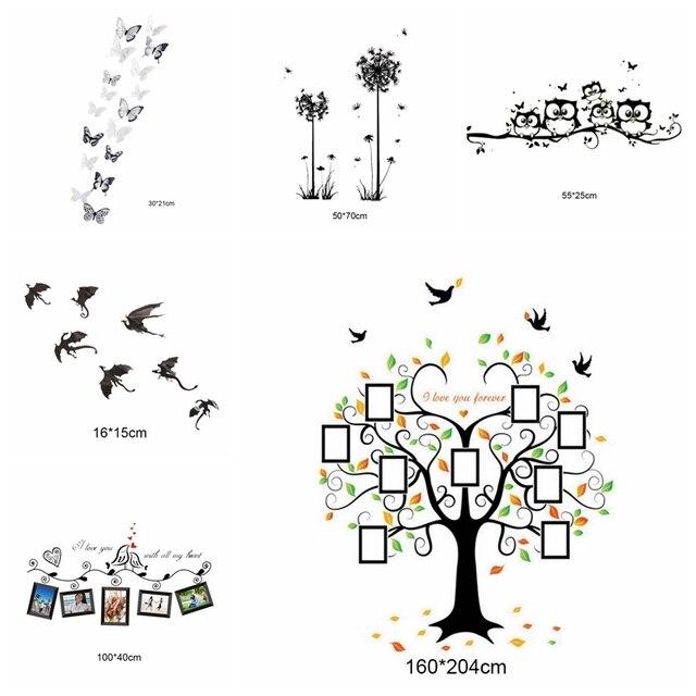 1 Pc Ramka Rodzina Cytaty Naklejki ścienne Ramki Drzewo Motyl