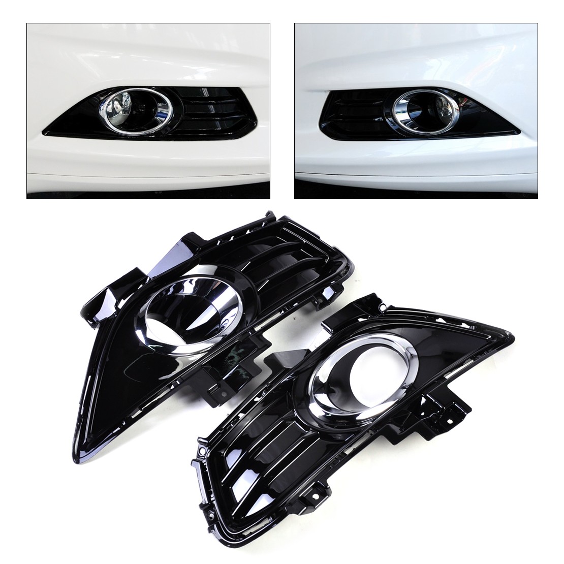 DWCX DS73-19952CAW SL666 Gloss Fog Light Lamp Grill Grille Cover for Ford Fusion / Mondeo 2013 2014 2015 dwcx 2pcs front fog light lamp cover grille grill 2pcs lamp kit for ford fiesta 2014