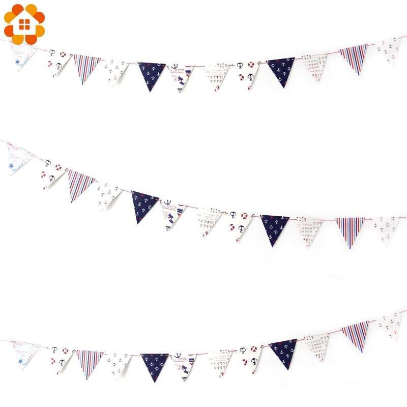 1set New Nautical Banner Anchor Steering Wheels Sailboat Baby Boy Decor Home Garden Shower Birthday Party Supplies