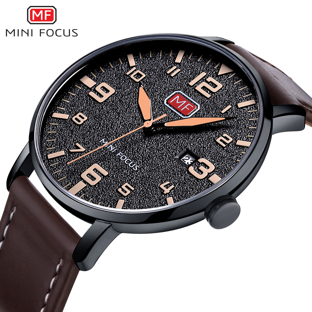 MINI FOCUS Luxury Brand Men's Wristwatch Quartz Wrist Watch Men Waterproof Brown Leather Strap Fashion Watches Relogio Masculino