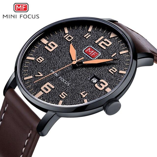 MINIFOCUS Luxury Brand Men's Wristwatch Quartz Wrist Watch Men Waterproof Brown Leather Strap Fashion Watches Relogio Masculino