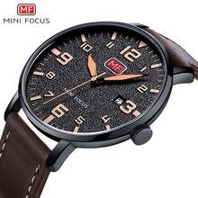 Minifocus Элитный бренд Для мужчин наручные кварцевые наручные часы Для мужчин Водонепроницаемый коричневый кожаный ремешок Мода часы Relógio Masculino