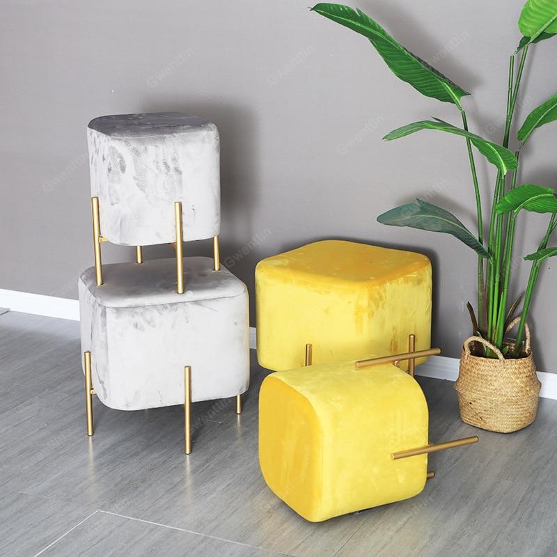 Carré nordique tissu métal tabouret or petits tabourets moderne repose-pieds chaussures magasin chambre banc salle à manger chaises vanité canapé pouf