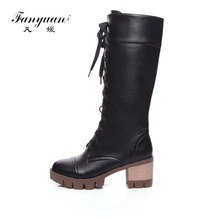 Fanyuan 2017 Designer Women Square Mid Heel Riding Motorcycle Heel Knee High Boots Punk Gothic Platform Lace Up Shoes Size 34-43