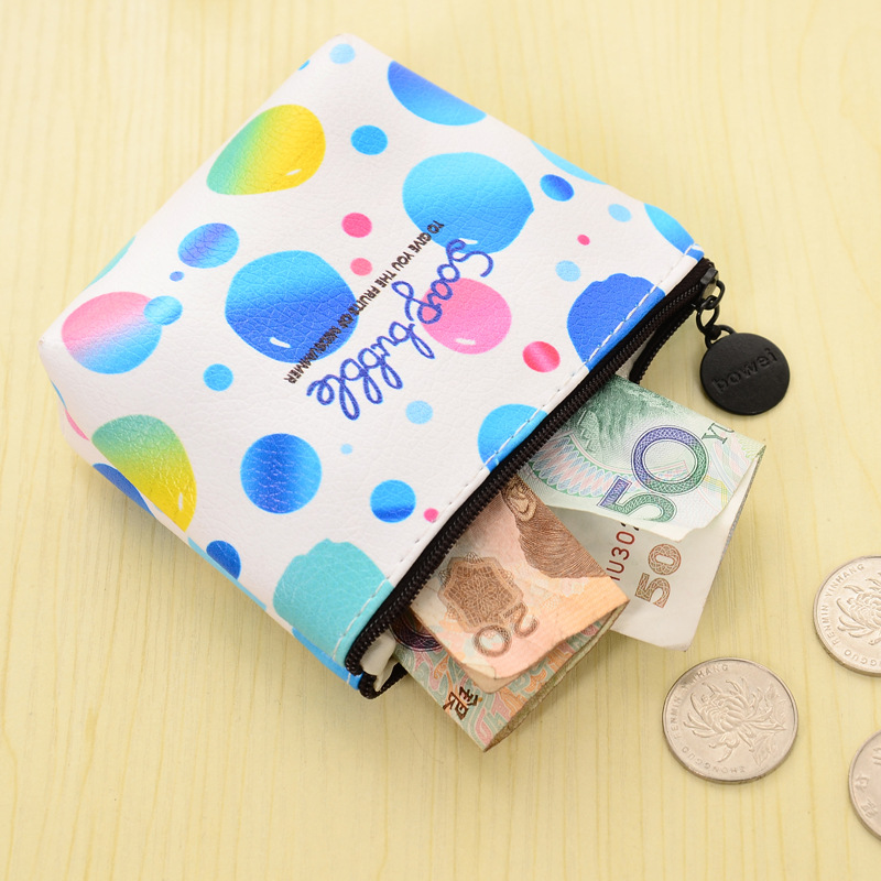 Korean Fresh Women  PU Leather Coin Purse Girls Zipper Coin Pouch Children Car Key Wallet Kids Mini Money Storage Bag