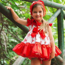 New Summer Girl Red Print Cotton Princess Dress Bow Gown Vintage Spanish Style Dress Lolita Party Dress for Girls Dress G043 цены