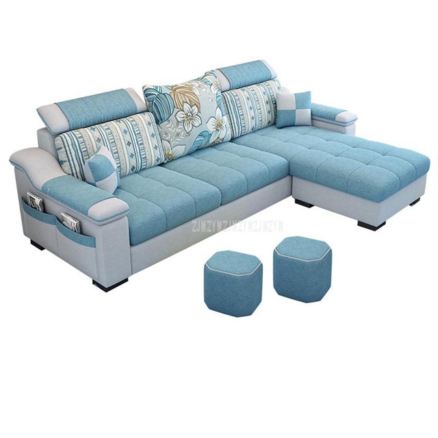 NEW 3 Seat Linen Fabric Living Room Sofa Set Home Furniture Modern Design  Frame Soft Sponge L Shape Home Furniture