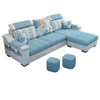 NEW 3 Seat Linen Fabric Living Room Sofa Set Home Furniture Modern Design Frame Soft Sponge L Shape Home Furniture