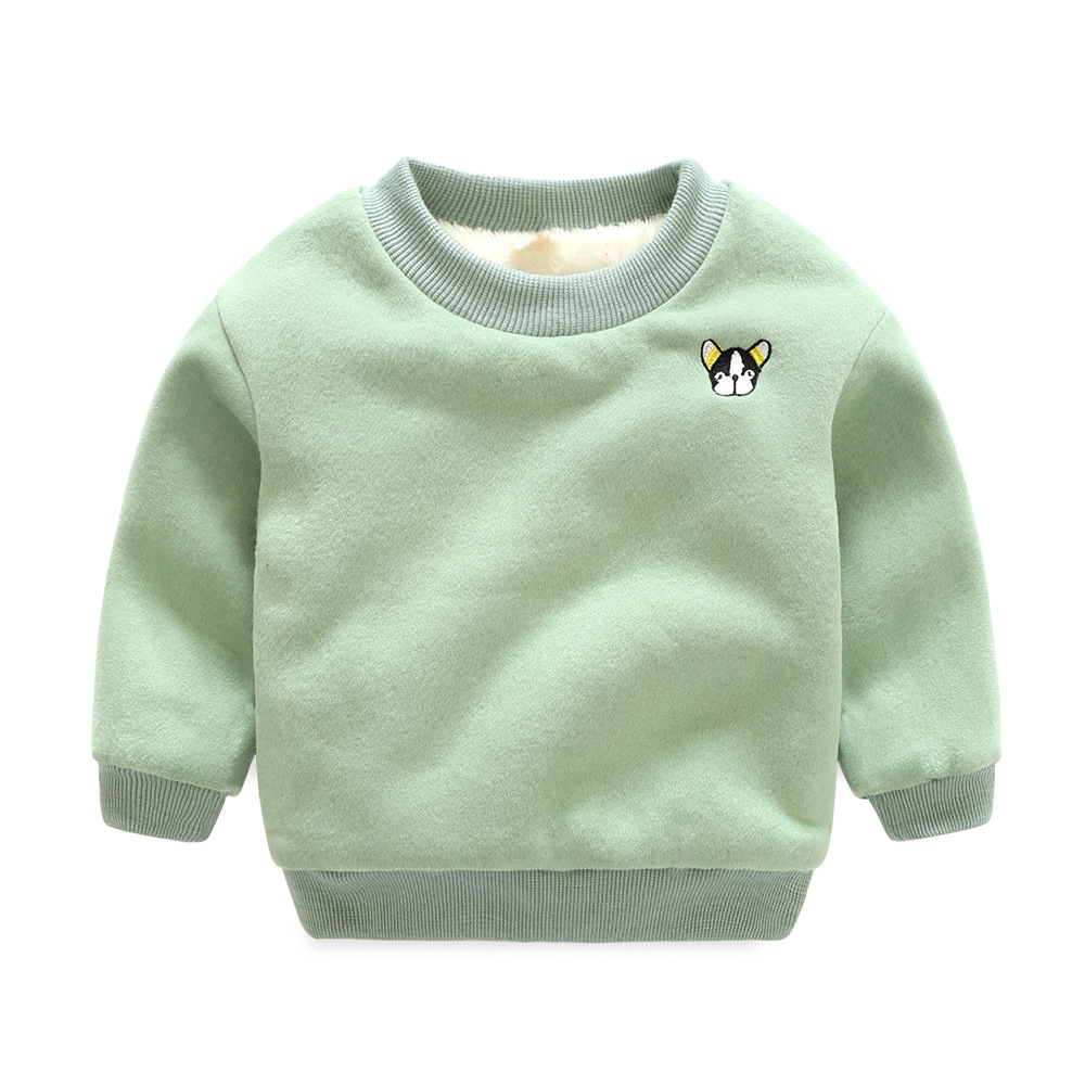 2017 Winter Kids Plus velvet sweatshirts hoodies Thick cotton Fashion Boy girl Warm Cashmere Embroidery T shirt toddler clothes