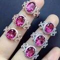 Natural pink topaz gem anillo Genuino 925 plata esterlina anillos de la mujer joyas piedras
