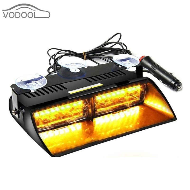 12V 48W 16 LED Yellow Car Strobe Light Automobile Light-emitting Diode Flash Light Dash Emergency Flashing Lamp wiht Suction Cup car styling led strobe lights shark gill fin solar powered colorful light automobiles light emitting diode decorative flash lamp
