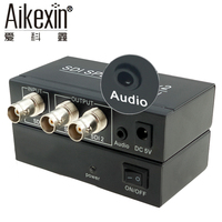 Aikexin 1x2 SDI Splitter with 3.5mm Jack 2 port SDI Splitter 1 to 2 SDI Converter with Audio Aux for projector Monitor Camera
