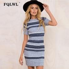 FQLWL Women Sweaters Dresses 2018 Spring Striped Knitted Bodycon Sleeve Mini Girls Dress Party Skinny Elegant Dresses Vestidos