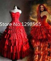 Индивидуальный заказ Мария padilha сделать Inferno Star помба gira костюм Красный Корсет Многоуровневое длинная юбка средневековой платье Косплэй ко