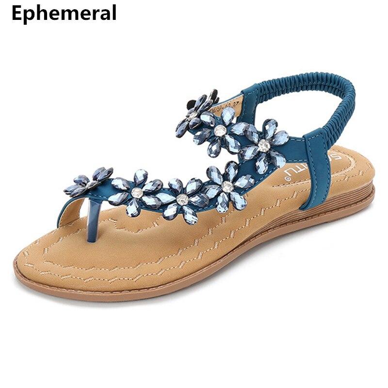 f1f4b97a3 Ladies Flip flops Flats Luxury Rhinestones Sandals Blue Black Pink Elastic  Band Anti-skip Shoes