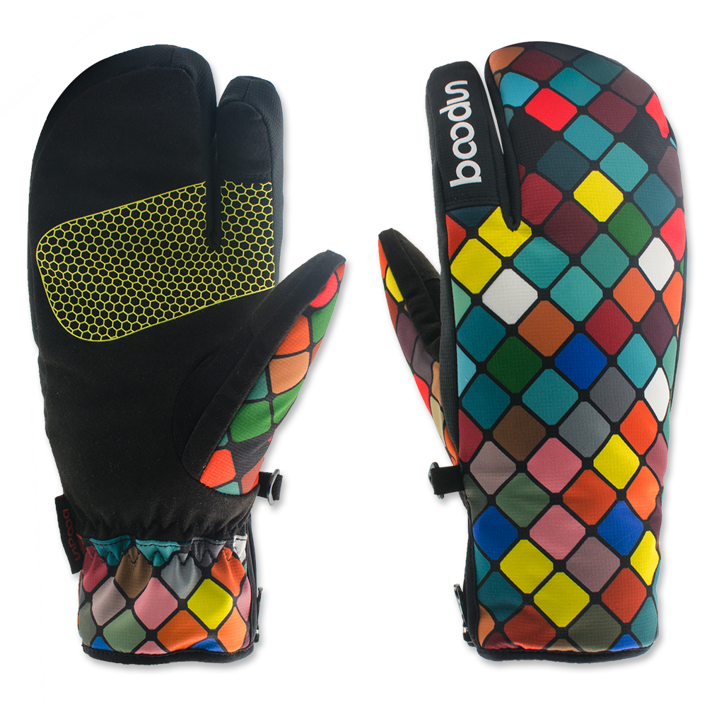 1 Pair Boodun Womens Winter Thermal Ladies Ski Gloves Three Finger Telefingers Luvas Waterproof Warm Snowboard Glove Feminina fl ski gloves snowboard