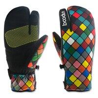 Winter Thermal Ladies Ski Gloves 1 Pair Boodun Womens Three Finger Telefingers Luvas Waterproof Warm Snowboard