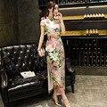 New Arrivals Hot Long Charming Chinese Women's Evening Dress Short Sleeve Cheongsam Qipao Size S M L XL 2XL