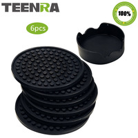 TEENRA 6Pcs/set Anti-slip Silicone Cup Coaster Cup Mat Roud Table Placemat Silicone Drink Pad Coffee Drink Insulation Placemat