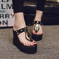 Platform Wedge Sandals Women Summer Shoes 2019 Fashion Woman Black Shoes Sweet Ladies Square Sandals Flip Flops Wedges TB058