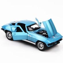1:32 Corvette C2 Alloy Car 15CM Hosszú Super Sport Autó Modell Pull Back Min Diecast Metal Jármű Acousto-optic Oyuncak Menino