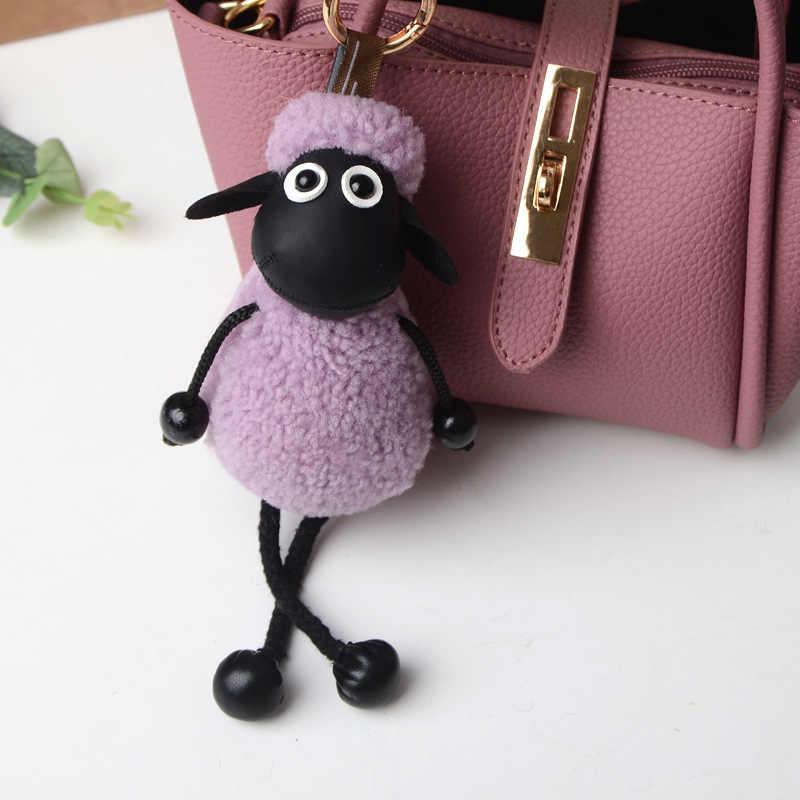 Hot Vender New Ovelhas chaveiro anel chave chaveiro ovelhas De Lã lã de carneiro Pele Real de lã Saco chave Do Carro Acessório