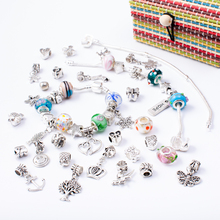 4 in 1 Charm Bracelet Making Kit DIY Craft European Bead Silver Plated Snake Chain Jewelry Gift Set for Girls Teens недорого