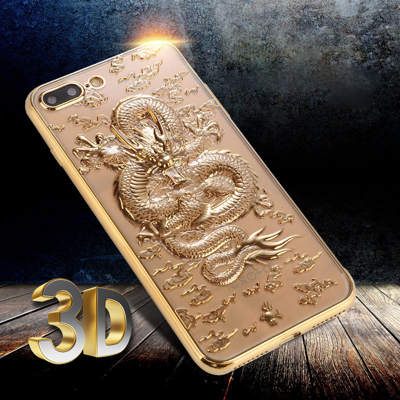 for Apple iPhone 6 6S Plus Silicone Case Back Cover Stylish 3D Relif Chinese Dragon Plating