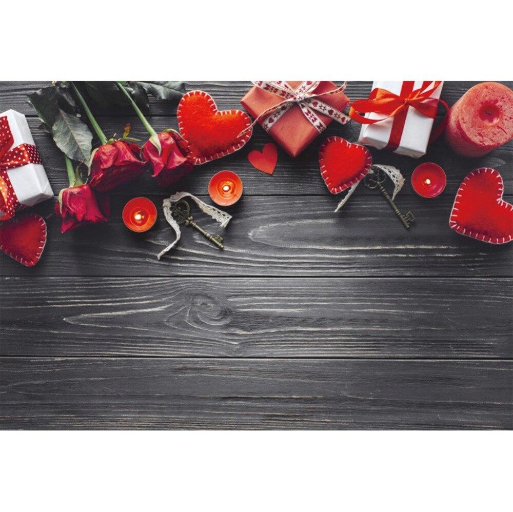 Laeacco Фото фоны с Днем Святого Валентина красная роза любовь сердце подарок деревянная доска детские фото фон фотосессия Фотостудия