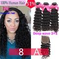 Peruvian Virgin Hair 3 Bundles with Closure Peruvian Deep Wave Virgin Hair Bundles with Lace Closure 4Pcs/lot Human Hair Weave