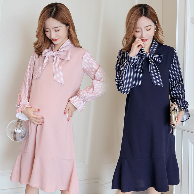 Pregnant Dress Winter Long-sleeved Pregnant Woman Ruffles Dress For Autumn And Winte  Pink Maternity Mermaid Dress