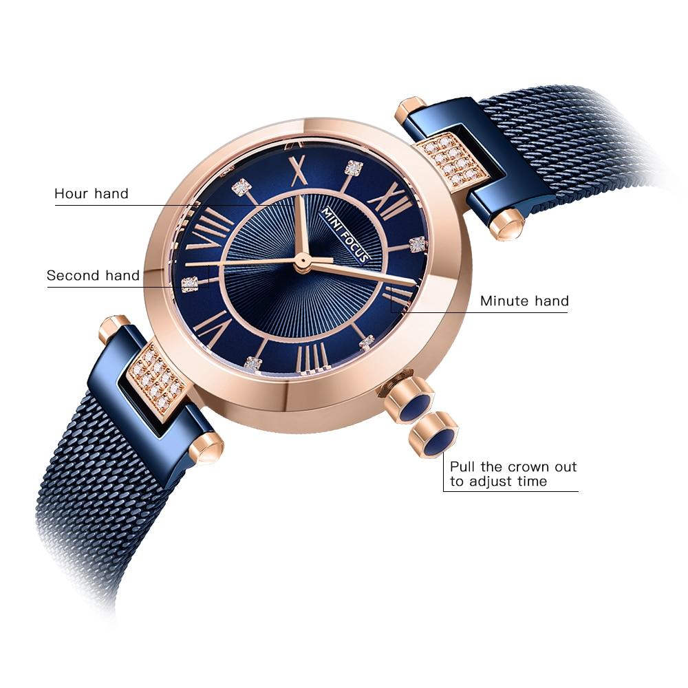 Image 3 - MINI FOCUS Quartz Women Watches Blue Ultra Thin Mesh Strap Clock Crystal Roman Numeral Minimalist Dress Ladies WristwatchesWomens Watches   -