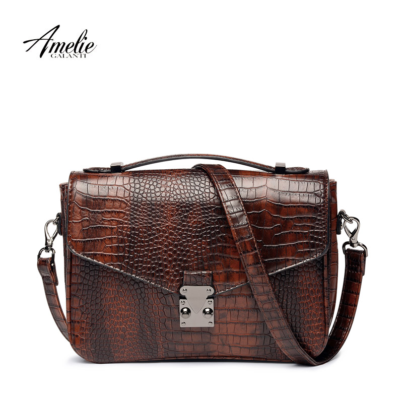 AMELIE GALANTI Crossbody Bags Messenger Bag Women Leather High Quality Serpentine Envelope Vintage Hard Bag with Zipper