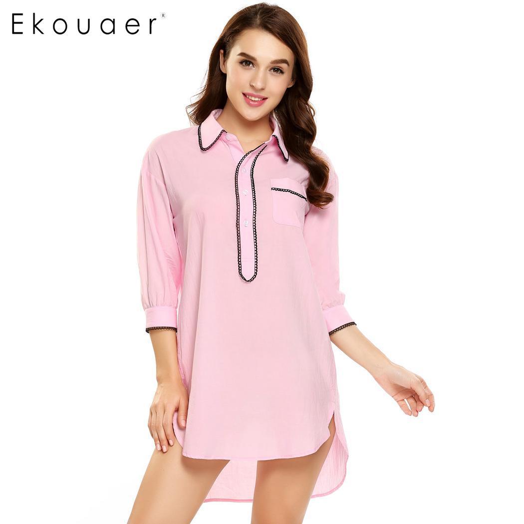 Ekouaer Women Casual Cotton Sleep Top Long Sleeve