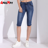 Denim Capris For Women Plus Size Calf Length Pants Skinny Jeans Woman High Waist Jeans Stretch
