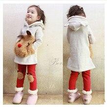 Free Shipping Children's clothing set girls cartoon panda fleece sweatshirt +legging set hot-selling set for autumn – winter