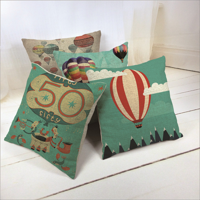 45cm *45cm Retro Home Couch Sofa Pillow case Cushion Balloon Cover  3D 1 side printing