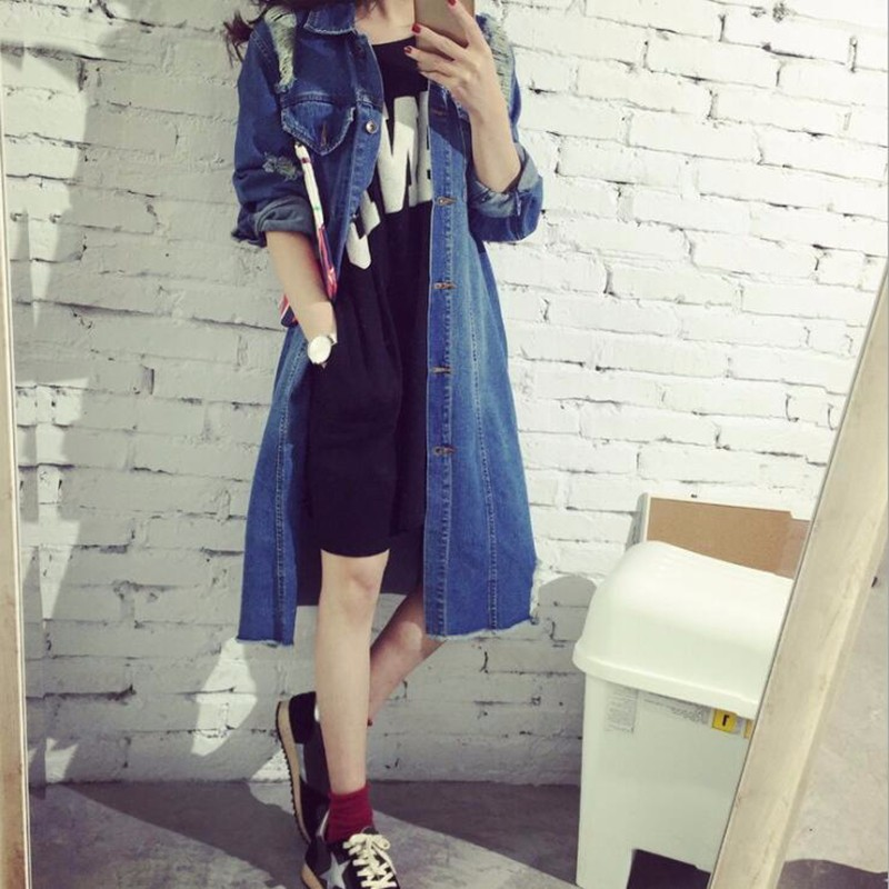 Womens Autumn Jackets And Coats 2016 New Design Frayed Washed Denim Outwear Girls Casual Slim Pocket Clothing New Street Fashion (2)